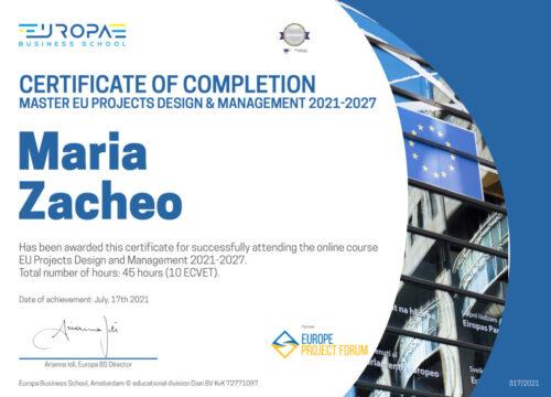 Maria Zacheo – Master in Progettazione e Gestione di Progetti Europei